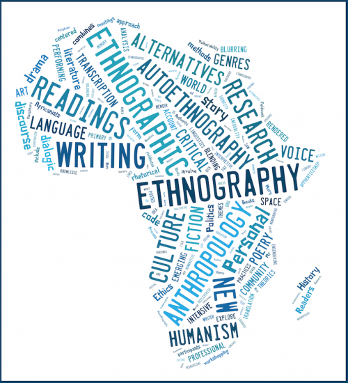 continent of Africa covered in words describing ethnography