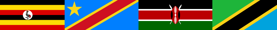 Banner image with the flags of Uganda, Democratic Republic of the Congo, Kenya, and Tanzania