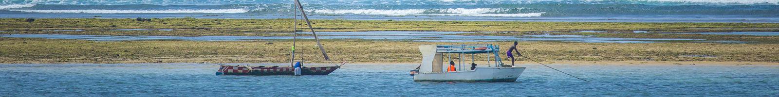 Two fishing boats in the lagoon at Nyali Beach, Mombasa