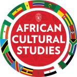 """The words """"African Cultural Studies"""" on a red patterned background with numerous African flags in a ring around it"""