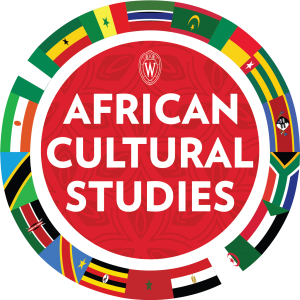 "The words ""African Cultural Studies"" on a red patterned background with numerous African flags in a ring around it"