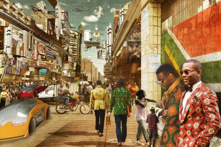 An image showing a busy street in a futuristic version of South Africa