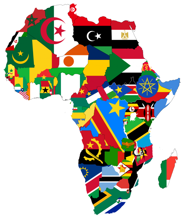 Map of Africa with each country shown as its flag