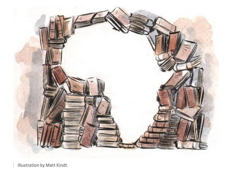 Image of a large stack of books forming an outline of Africa