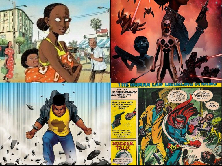 Four images of pages from African comic books, showcasing everyday people and superheros
