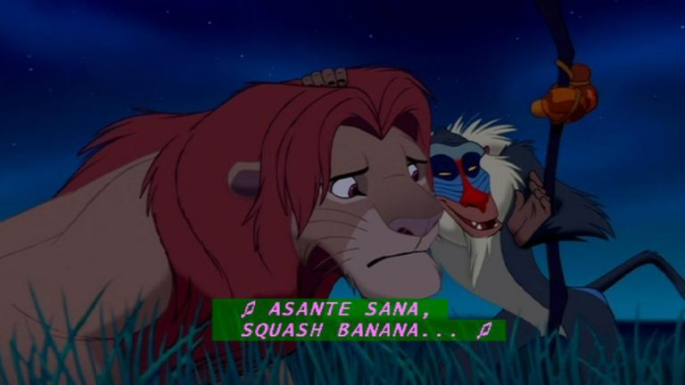 "An image of Simba and Rafiki from The Lion King captioned with the phrase ""Asante sana, squash banana"""